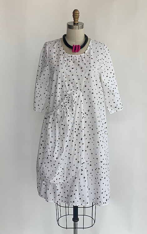 Speckled White Cotton Dress with Large Pocket
