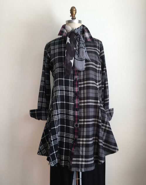 Swing Flannel Shirt with Mixed Plaids