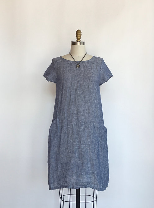 Short Sleeved Linen Dress/Tunic with 2 Pocket Detail