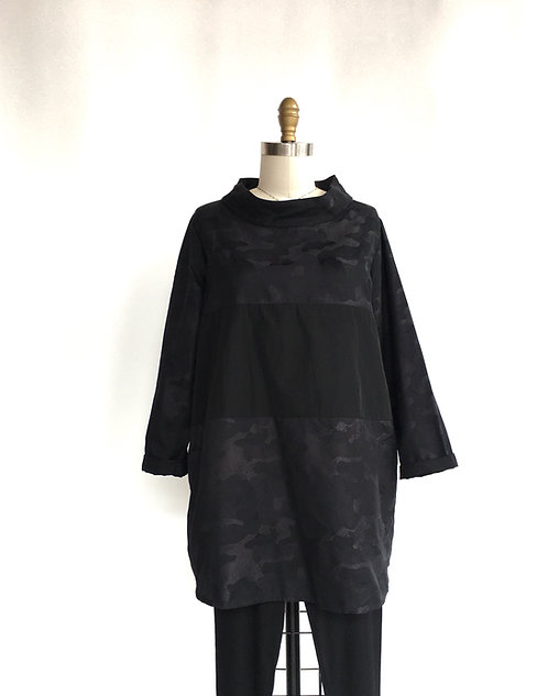 Sun Kim Black and Gray Camo Tunic with Black Inset and Standup Collar