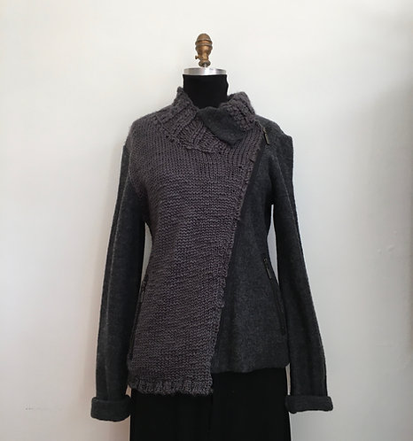 Boiled Wool and Knitted Zippered Jacket