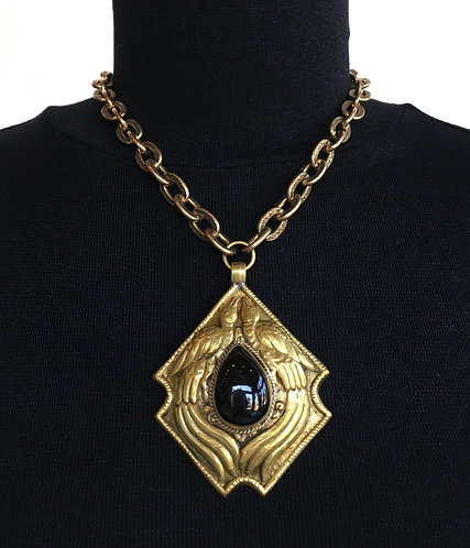 Brass Necklace with Two Birds Surrounding a Black TibetanTeardrop Stone