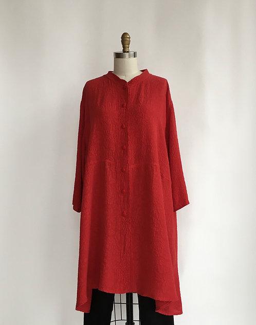 Textured Silk Long Jacket