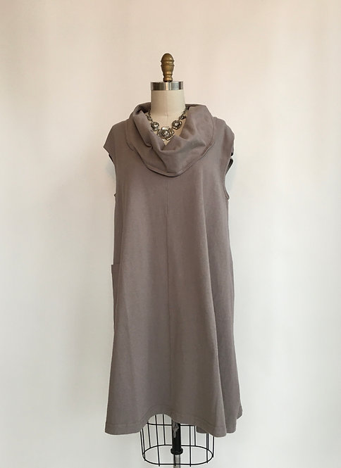 Cotton Jersey Cowl-necked Dress with Drawstring Bottom