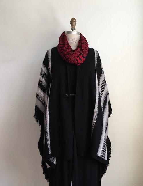 Blanket Fringe Knitted Poncho