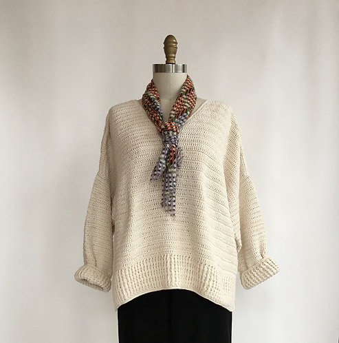 Hand-knit Cotton V-neck Sweater