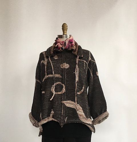Drawstring Turtleneck Pullover with Klee Print