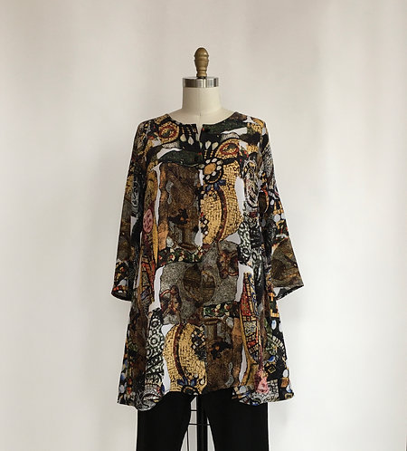 Silk Front Button Tunic in a Mosaic Print