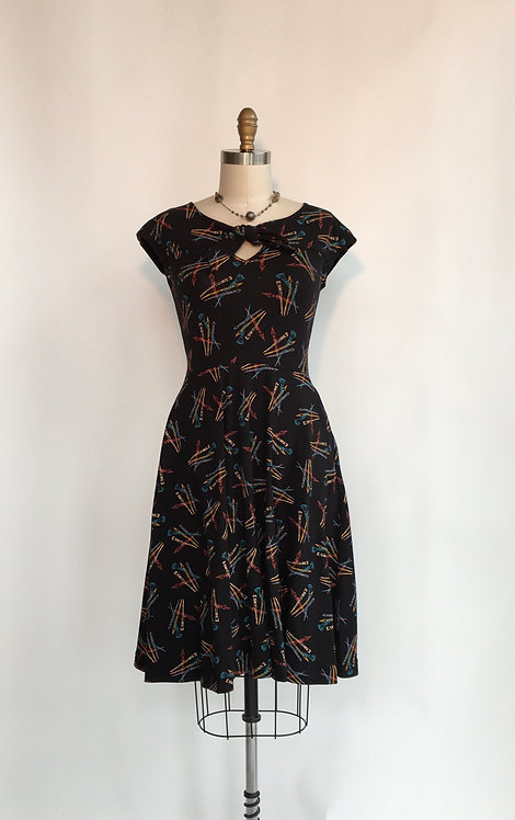 Cap Sleeve Dress with a Tie Neck in Paint Brush Print