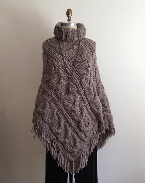 Chunky Cable Knit Turtleneck Poncho