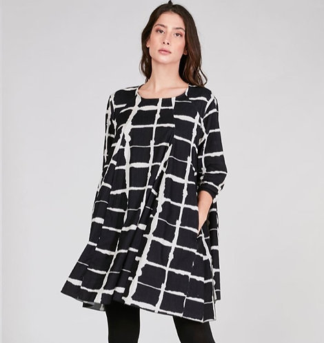 Wave Grid-Line Pleated Babydoll Dress In Pin Wale Corduroy