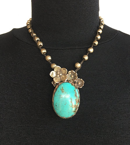Necklace withTurquoise Pendant and Hand Cast Silver Flowers and Silver Beads