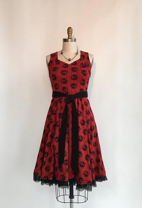 Ladybug Print Sleeveless Dress with Sweetheart Neckline