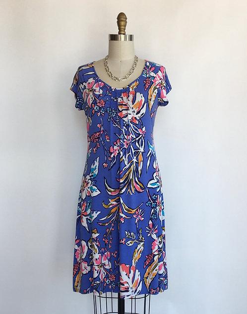 A-line Smocked Floral Cap Sleeved Dress