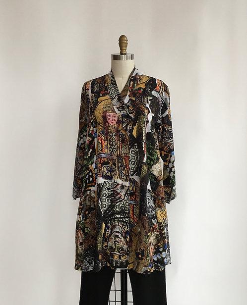 Long Silk Jacket in a Mosaic Print