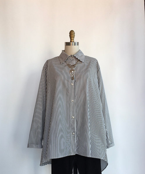 Over Size Striped Cotton Button Up Shirt with Wide Collar