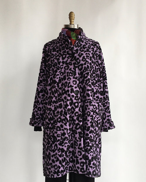Purple Leopard Print Coat