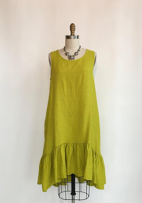 Sleeveless Hi-Low Linen Dress with Bottom Ruffle