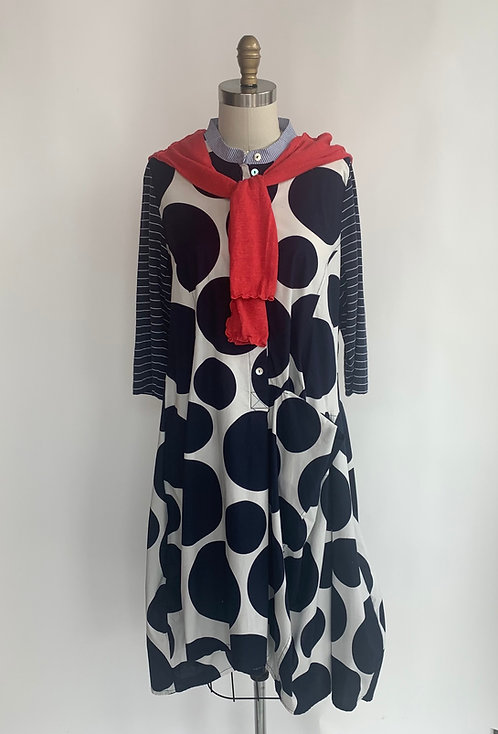 Polka Dot and Stripe Mid-length Shirt Dress