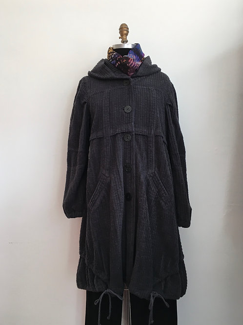 Wide Wale Corduroy Hooded Coat with Drawstring Bottom