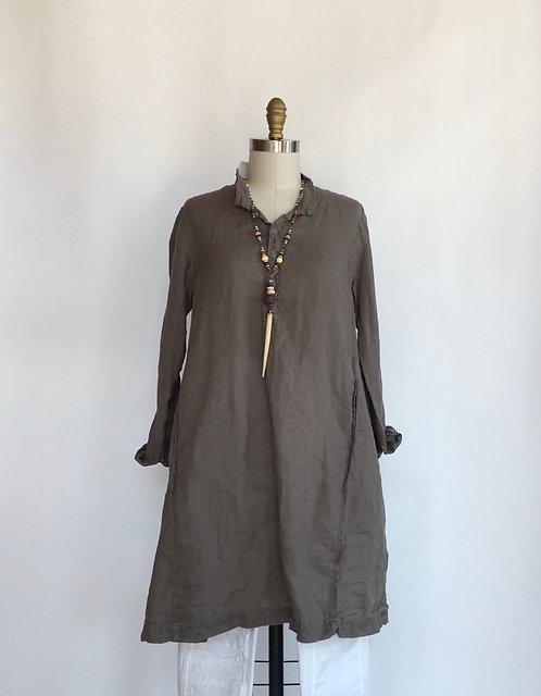 4 Button Mandarin Collar Linen Tunic/Dress