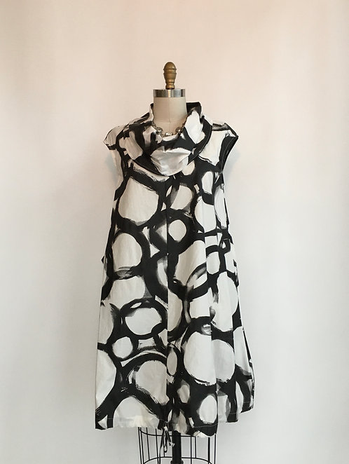 Cotton Print Cowl-necked Dress with Drawstring Bottom