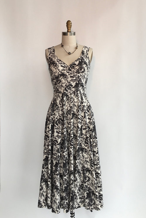 Tea Length Dress with Crossover Front