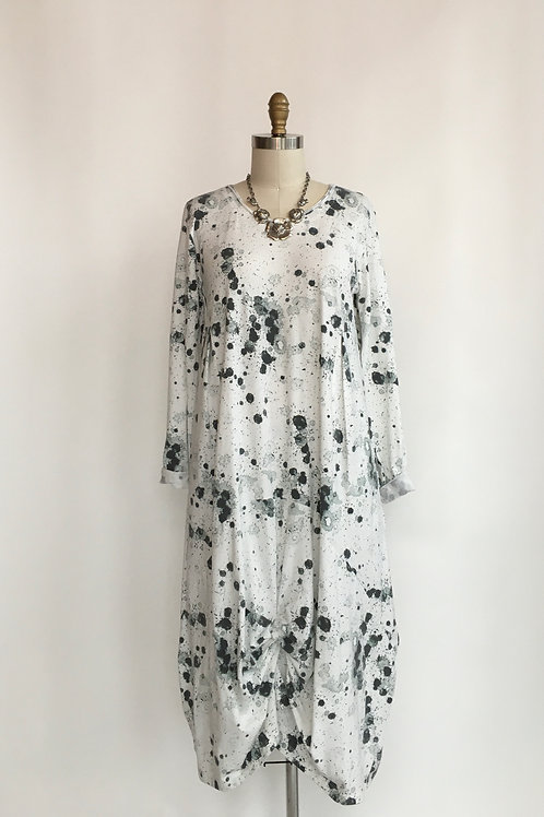 Long Sleeved Cotton Jersey Dress with Gathered Bottom