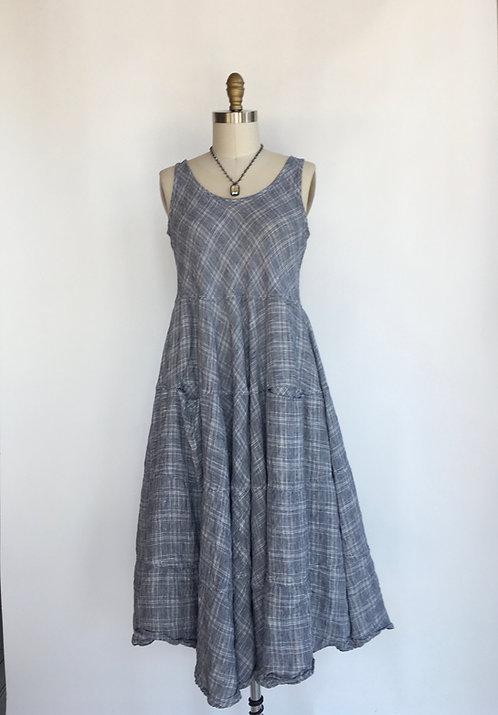Sleeveless Plaid Linen Dress with Tiered Skirt
