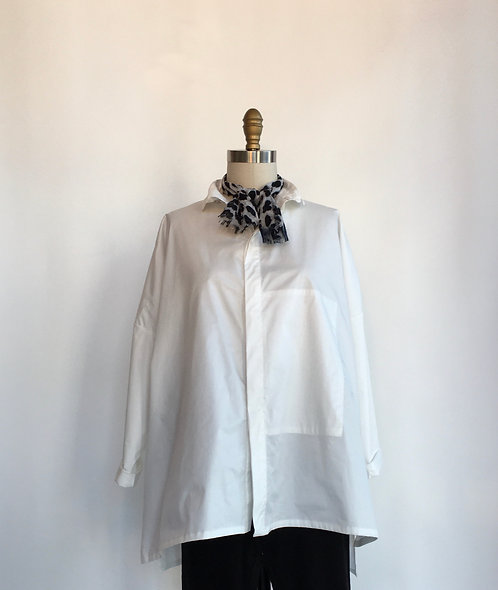 White Cotton Button Up Shirt with Drop Shoulder and Round Collar