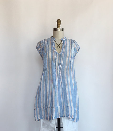 Striped Linen Cap Sleeved Tunic with Pintucks