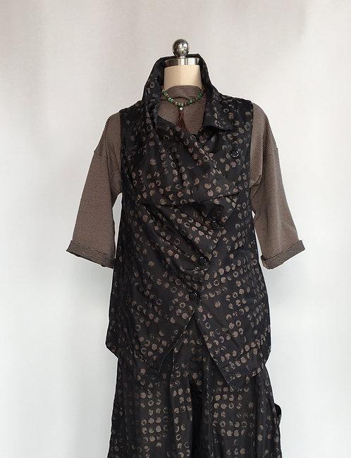 Sun Kim Dotted Vest with Diagonal Button Closure