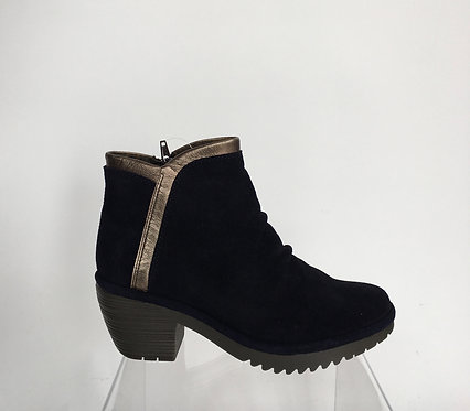 Fly London Suede Side Zip Bootie with Gold Trim