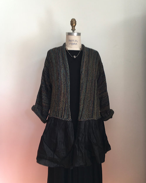 Long Open Cardigan with Wide Cloth Ruffle