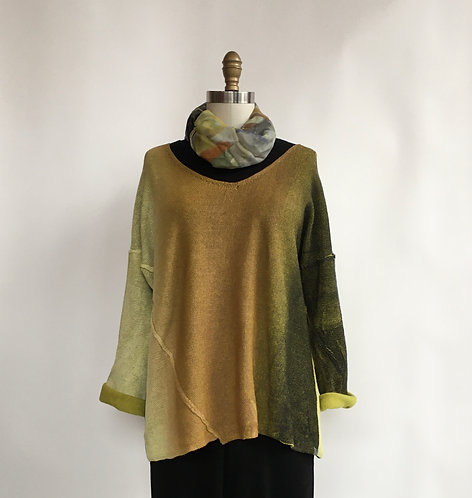 V-Neck Sweater with Asymmetrical Side Seams