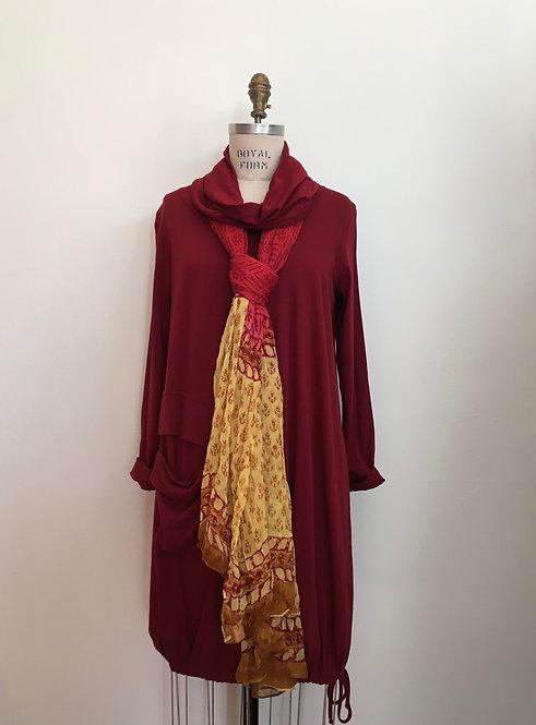 Cowl Neck Dress with Drawstring Bottom