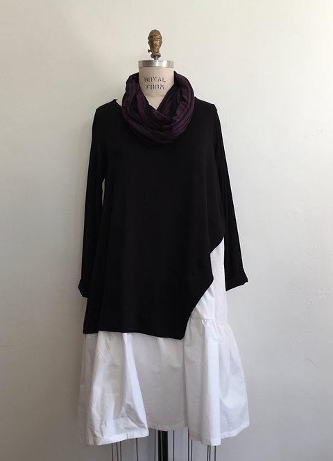 Black Dress/Tunic with White Ruffled Bottom
