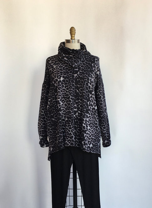 Leopard Tunic with Zip Collar