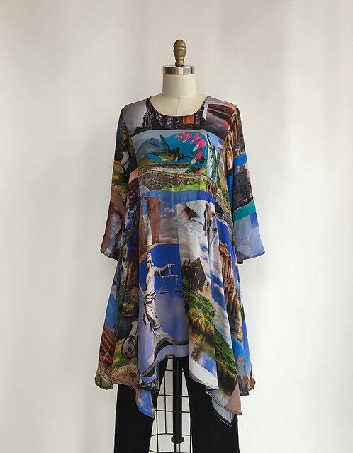 Art Print Silk Tunic