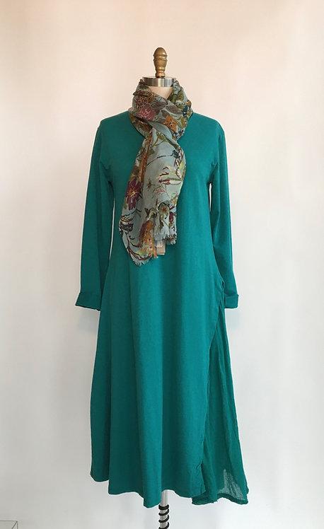 Long Cotton Jersey Dress with Gauze Side Pleat