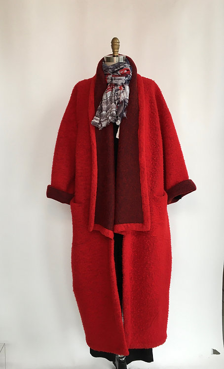 Long Knubby Textured Open Front Coat