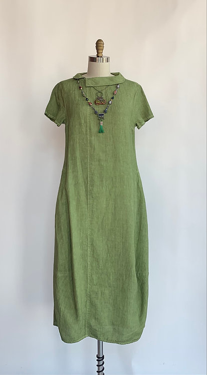 Loose Linen Ankle Length Dress With Small Collar