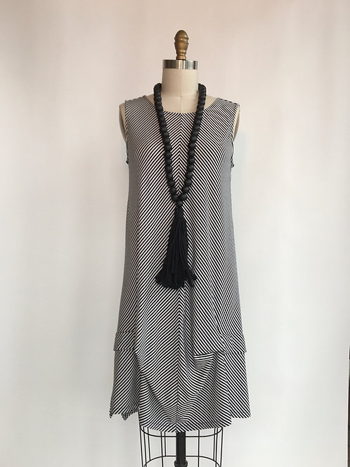 Black and White Striped Sundress with Bottom Detail