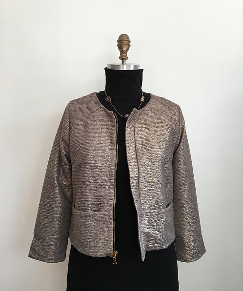 """Gold Lame """"Chanel"""" Jacket with Zip Front"""
