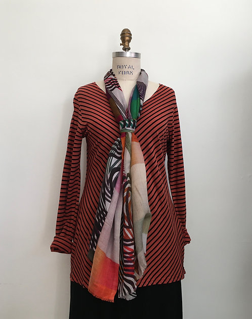 V-Neck Striped Tunic