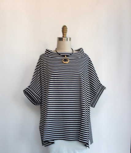 Boxy Striped Short Sleeved Tee with Stand-up Boatneck