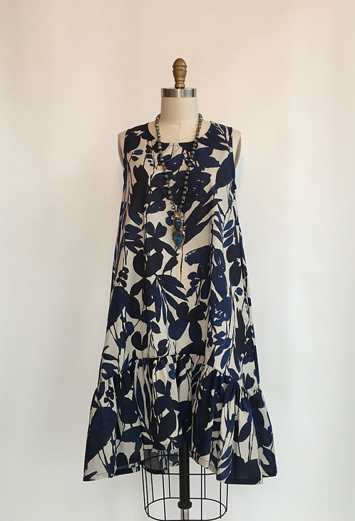 Hi-Low Sleeveless Floral Cotton Dress with Bottom Ruffle