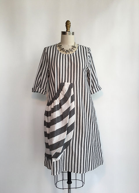 Striped Dress with Front Pocket Detail