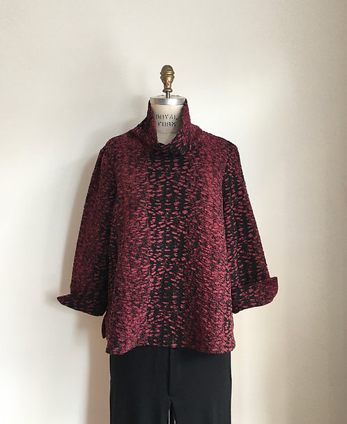 Abstract Print Cowl Pullover in Textured Fabric