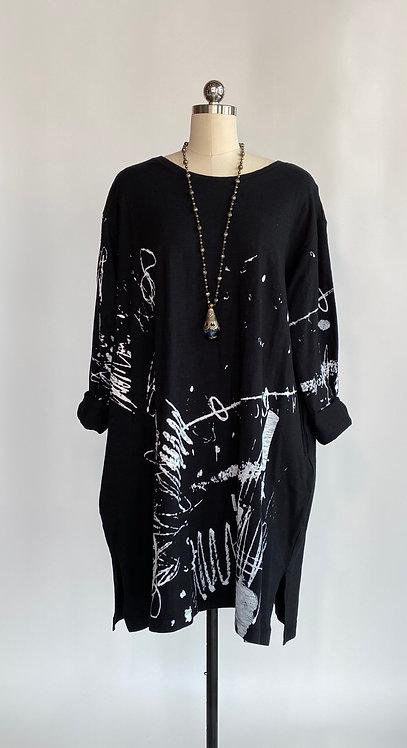 Moyuru Black Cotton T Shirt Dress